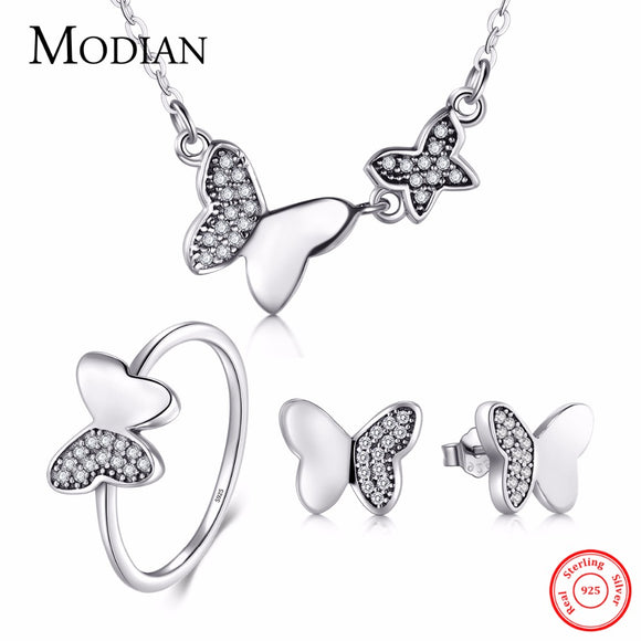 Modian 100% Real 925 Sterling Silver Butterfly Jewelry Sets Classic Simple With 5A CZ Ring Vintage - Beltran's Enterprise