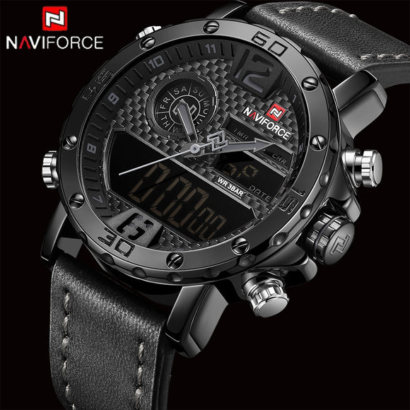 NAVIFORCE Top Original Brand Luxury Mens Watches Sport Watch Men Leather Waterproof Miliary - Beltran's Enterprise