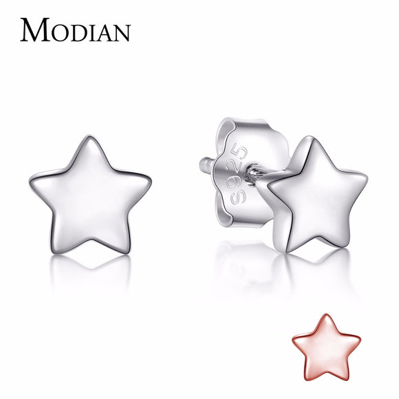 Modian 2018 Authentic 925 Sterling Silver Exquisite Simple Stars Stud Earrings For Women Fashion Dazzling - Beltran's Enterprise