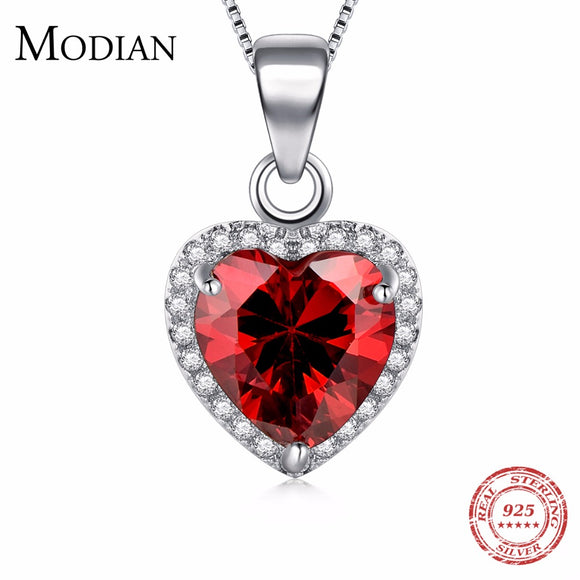 Modian luxury Fashion Real 925 Sterling Silver Hearts Pendant Red Heart Clear Crystal Classic Wedding - Beltran's Enterprise