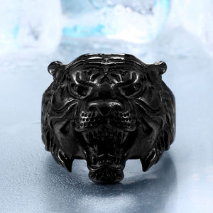 BEIER Stainless Steel Titanium Tiger Head Ring Men Personality Unique Men's Animal Amulet - Beltran's Enterprise