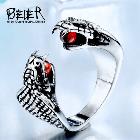 BEIER Dropshipping Sale Cool Viking Snake With Red Stainless Steel CZ Stone Man's Trendy - Beltran's Enterprise