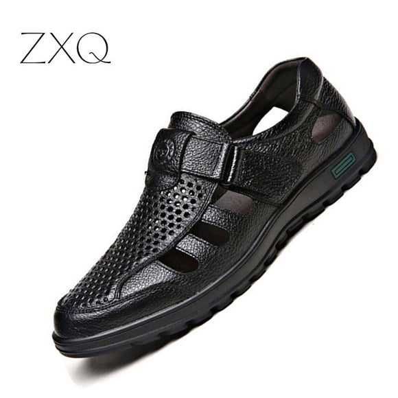 Hot Sale Men Summer Fretwork Hollow Sandals Classic No-Slip Black Brown Soft Leather Breathable Men - Beltran's Enterprise