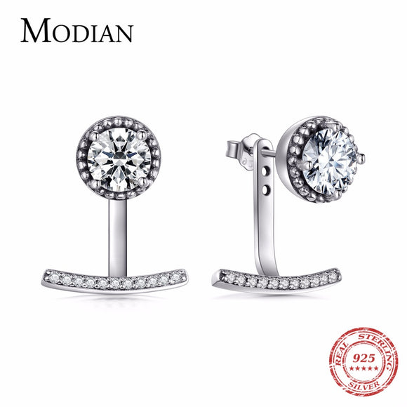 Modian High Quality Round Clear CZ Fashion Real 925 Sterling Silver Stud Earrings Sparking Classic - Beltran's Enterprise