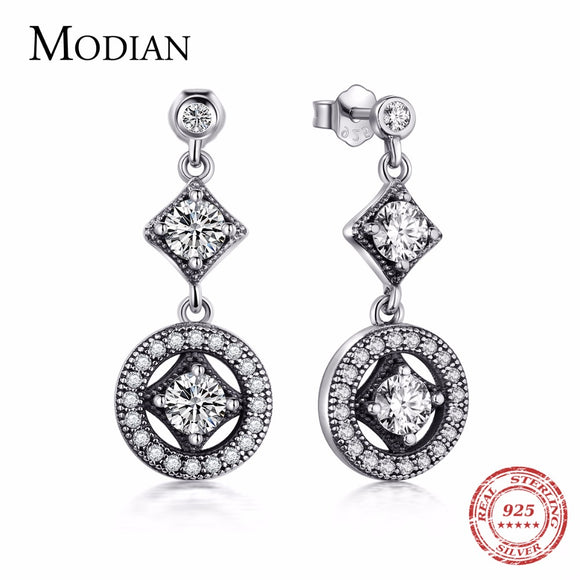 Modian Solid 925 Sterling Silver Classic Fashion Drop Earrings 5A Zircon VINTAGE Crystal For Women - Beltran's Enterprise