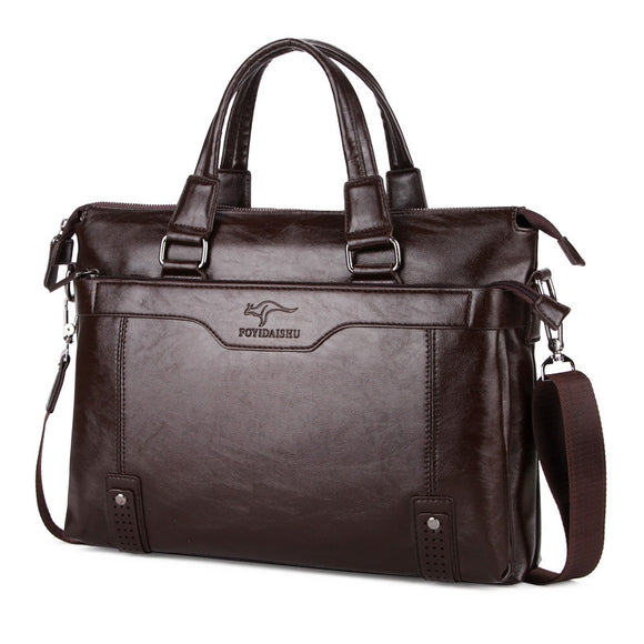 High Quality Leather Shoulder Leisure Men's Bags Business Messenger Portable Briefcase Laptop - Beltran's Enterprise