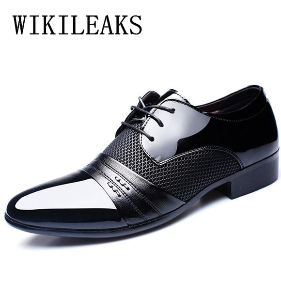 men patent leather dress shoes oxford wedding shoes mariage designer italian mens shoes - Beltran's Enterprise