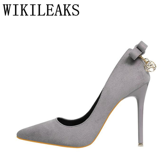 high quality flock italian high heels shoes woman zapatos mujer ladies pumps crystal sandals salto alto - Beltran's Enterprise