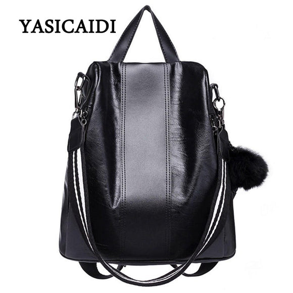 Casual Brand Women Backpacks PU Leather Shoulder Bag High Quality Big Backpack School Bags - Beltran's Enterprise