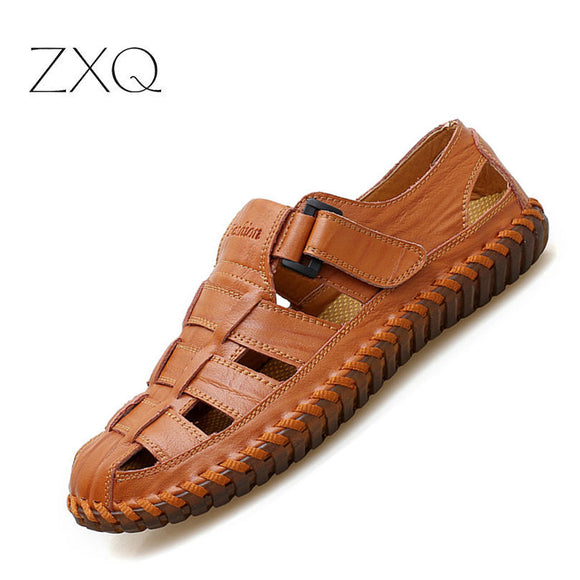 Plus 38-48 Fashion Handmade Gladiator Genuine leather Men Sandals Soft Leather Moccasins High Quality - Beltran's Enterprise