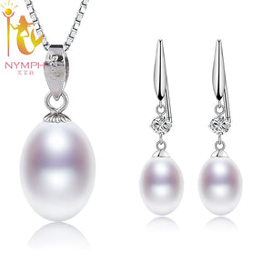 [NYMPH]Natural Pearl Jewelry Sets 925 Sterling Silver Jewelry Real Freshwater Pearl - Beltran's Enterprise