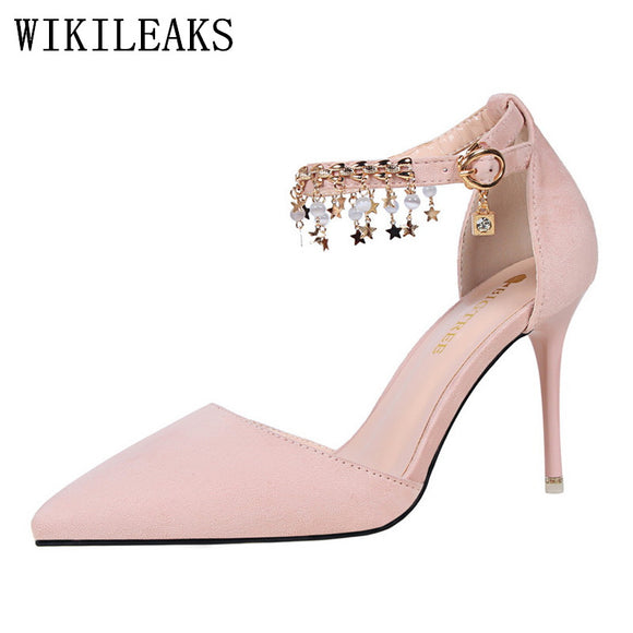 designer rhinesto chain shoes woman pink blue mary jane shoes luxury brand bigtree shoes - Beltran's Enterprise