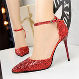 bling sexy buckle pointed toe wedding shoes sequined red high heels sandals women pumps bigtree - Beltran's Enterprise