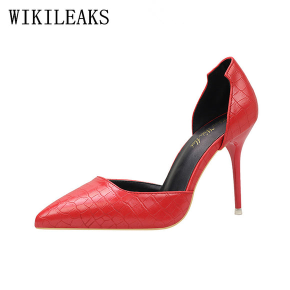 designer shoes women luxury 2018 italian euro snakeskin leather shoes woman high heels - Beltran's Enterprise