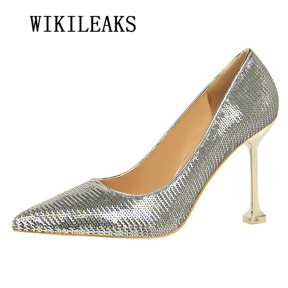 sequins high heels shoes women bling bling italian euros wedding shoes salto alto escarpins femme 2018 - Beltran's Enterprise