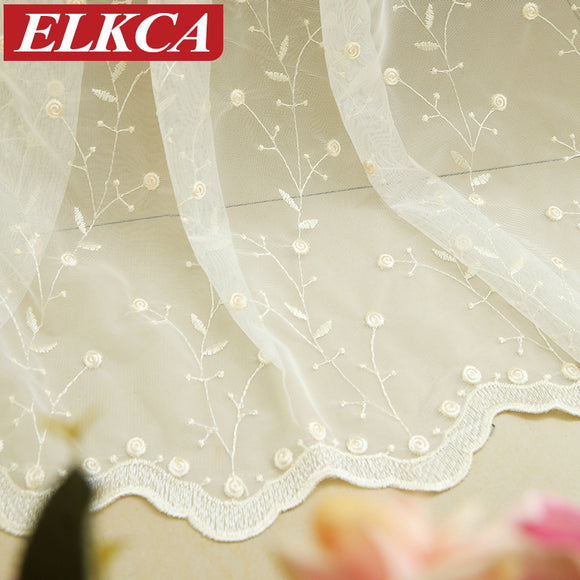 Luxury Embroidered White Tulle Curtains for Living Room White Sheer Curtains - Beltran's Enterprise