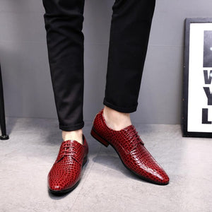 high quality crocodile skin shoes mens genuine leather formal wedding dress shoes oxford shoes - Beltran's Enterprise