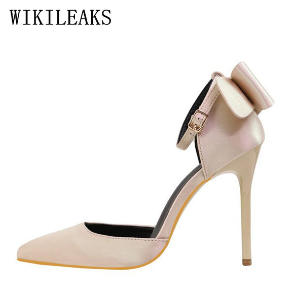 Bow Silk Satin shoes woman pink red high heels Mary Janes wedding shoes italian euros pointed toe - Beltran's Enterprise