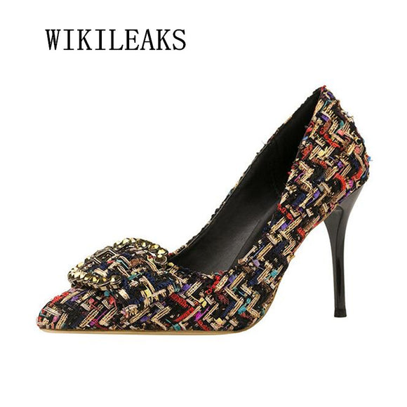 women shoes high heel pumps buckle party wedding dress shoes ladies shoes extreme high heels - Beltran's Enterprise