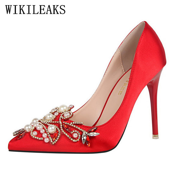 elegant designer shoes women luxury 2018 brand rhinestone pearl shoes peep toe high heels - Beltran's Enterprise