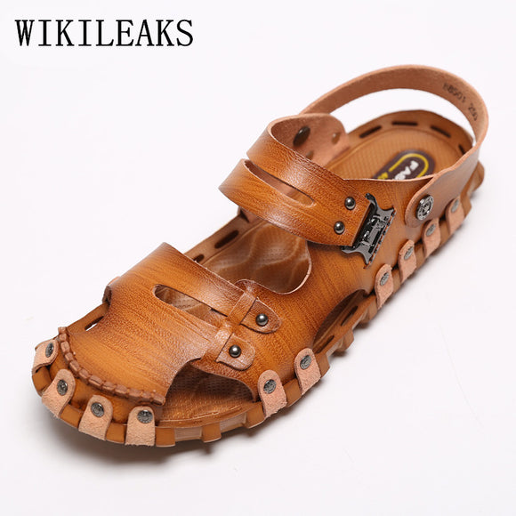 7ea1d3c8f18687 summer shoes mens beach sandals genuine leather beach shoes sandalias hombre  gladiator sandals - Beltran s Enterprise