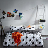 Solstice Home Textile Black White Star Stripe Grid 100% Cotton 4 Pcs Bedding Set Duvet Cover - Beltran's Enterprise