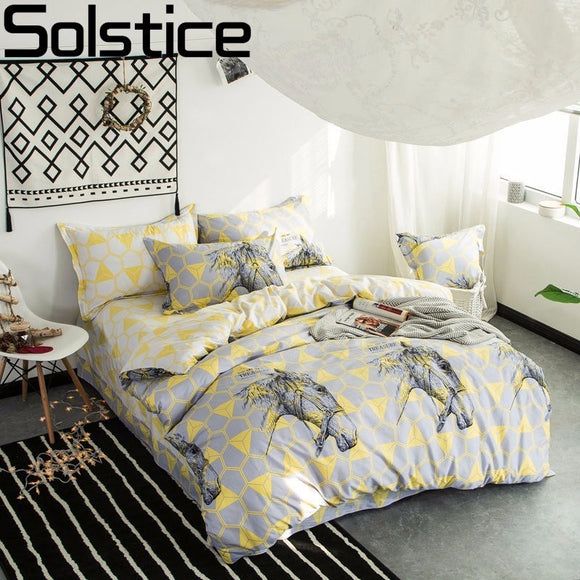 Solstice Orange Horse Head Style 100% Cotton 4PCS Bedding Sets Quilt Set Duvet Cover - Beltran's Enterprise
