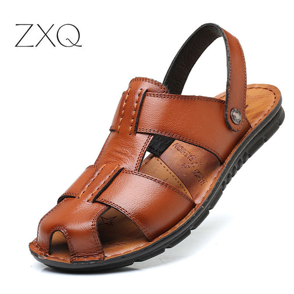 ZXQ Summer Roman Men Sandals Soft Leather Comfortable Sneaker Male Beach Elastic Slippers Native - Beltran's Enterprise
