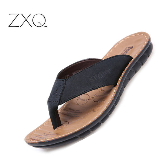 Summer Casual Men's Flip Flops Flat Sandals Shoes Cow Split Leather Flip Flops Beach Sandals Shoes - Beltran's Enterprise