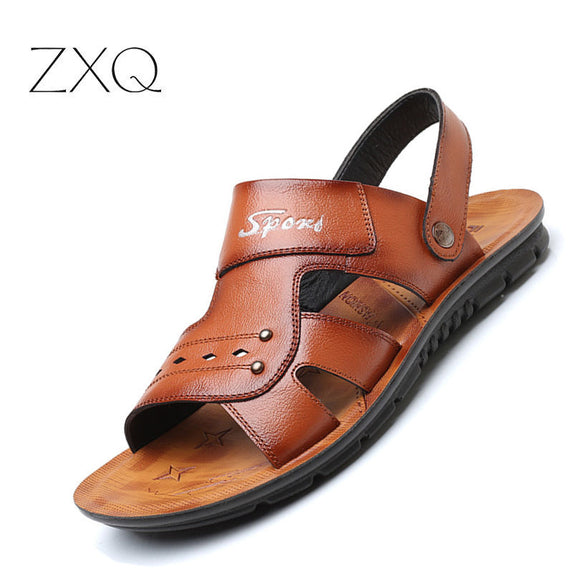 mens sandals 2018 summer outdoor beach sandals leather shoes fashion breathable casual - Beltran's Enterprise
