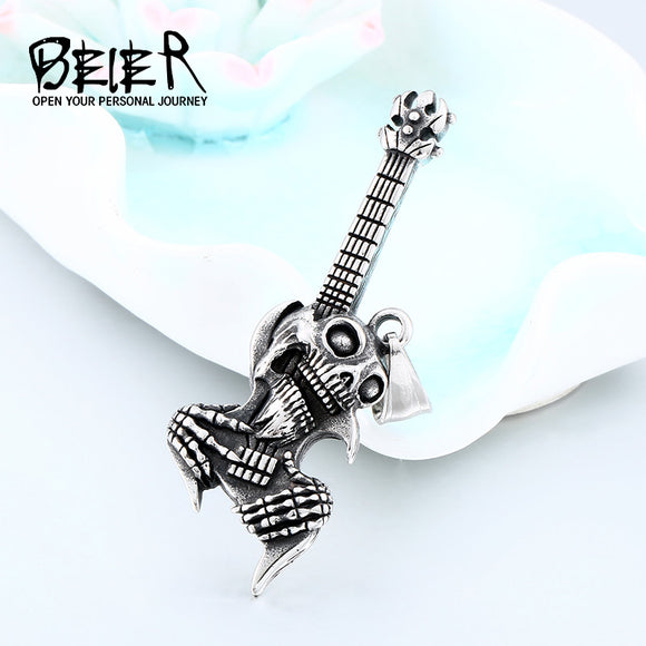 BEIER Hip Hop stainless steel The Music Guitar Skull Pendant Short Necklace Punk fashion  jewelry - Beltran's Enterprise