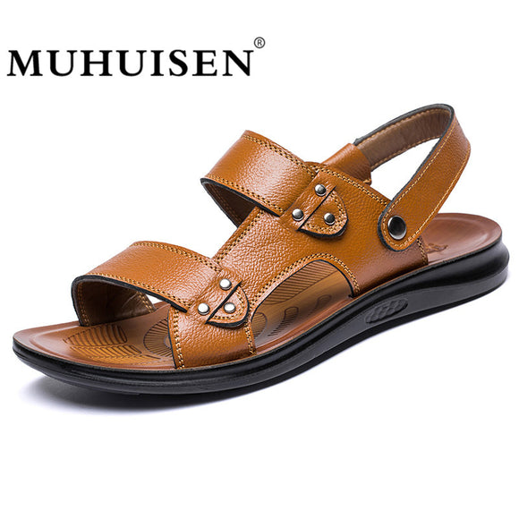 MUHUISEN Top Quality Men Sandals Summer Genuine Cowhide Leather Cool Light Weight Male Beach - Beltran's Enterprise