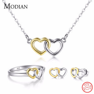Modian New Authentic 100% 925 Sterling Silver Ring & Stud Earrings Fashion Double Hearts Gold White - Beltran's Enterprise