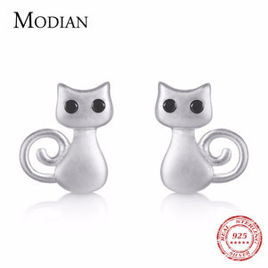 Modian 100% Sterling Silver Cute Cats Stud Earrings Lovely Cubic Zirconia CZ Silver Earrings - Beltran's Enterprise