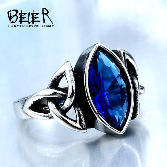 2017 NEW Cool Blue/Red/Black Zircon Northern Europe Viking Stainless Steel Ring Vintage - Beltran's Enterprise
