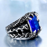 Cool Dragon Claw Ring With Red/Blue/Black Stone Stainless Steel CZ Ring Man's Hiqh Quality - Beltran's Enterprise