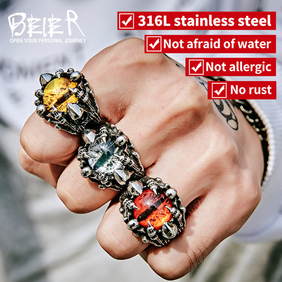 BEIER Punk Rock Claw with three Zircon stone evil eye CZ ring men anniversary Biker Skull  jewelry - Beltran's Enterprise