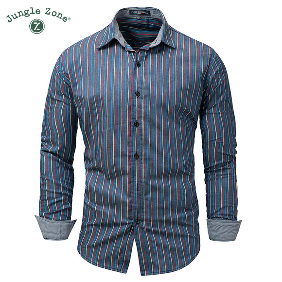 JUNGLE ZONE European size 2018 new 100% cotton shirt men's long sleeves casual - Beltran's Enterprise