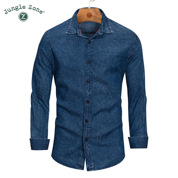 JUNGLE ZONE High quality New Casual Shirt Men 2018 Fashion Long Sleeve Denim Shirt - Beltran's Enterprise