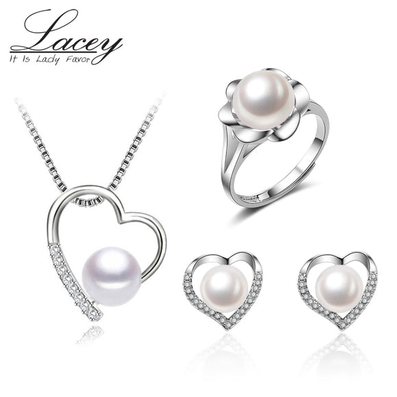 Wedding freshwater pearl jewelry sets for women,heart 925 silver jewelry sets  natural pearl earrings pendant rings girl gift - Beltran's Enterprise