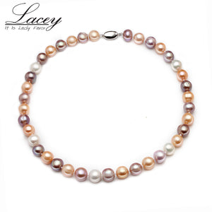 11-12mm big round freshwater pearl strand necklace,multi color natural pearl - Beltran's Enterprise