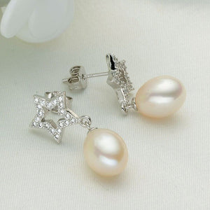 Real 925 silver natural freshwater pearl earrings,Moon and stars Temperament Elegant pearl earrings - Beltran's Enterprise