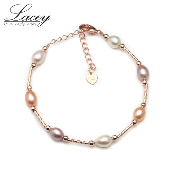 Real natural freshwater pearl strand bracelets for women,925 sterling silver pearl bracelet - Beltran's Enterprise