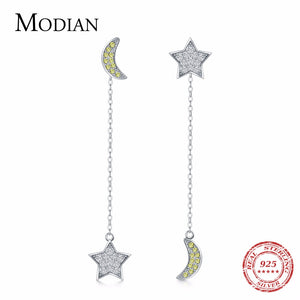MODIAN Hot Sale 100% 925 Sterling Silver Star & Moon Stud Earrings for Women Clear CZ Wedding - Beltran's Enterprise