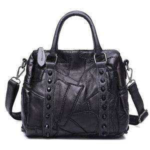 NIGEDU Brand Genuine leather Women handbag Fashion rivets ladies Shoulder Crossbody Bag black Casual sheepskin Women's Totes - Beltran's Enterprise
