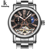 IK colouring Stainless Steel Luminous Automatic Mechanical Men's watch Moon Phase Brand - Beltran's Enterprise