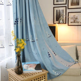 White/Blue Sailing Boat Embroidered Curtains for Living Room Faux Linen Cartoon - Beltran's Enterprise