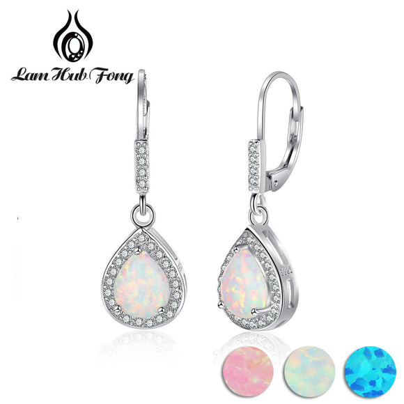 925 Sterling Silver Water Drop Shape Earrings White Opal & Cubic Zirconia Women Dangle Earrings - Beltran's Enterprise