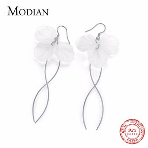 MODIAN Hot Sale Genuine 925 Sterling Silver Elegant White Flower Long Drop Earrings for Women - Beltran's Enterprise
