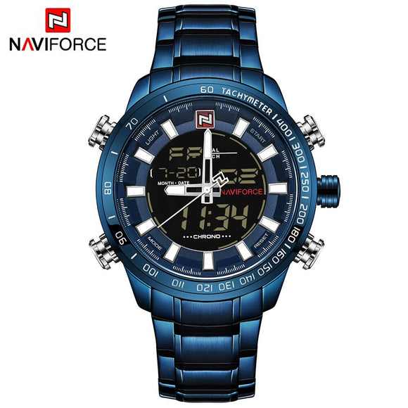 NAVIFORCE Luxury Brand Men Sports Watches Men's Quartz Digital Male Clock Man Full Steel - Beltran's Enterprise